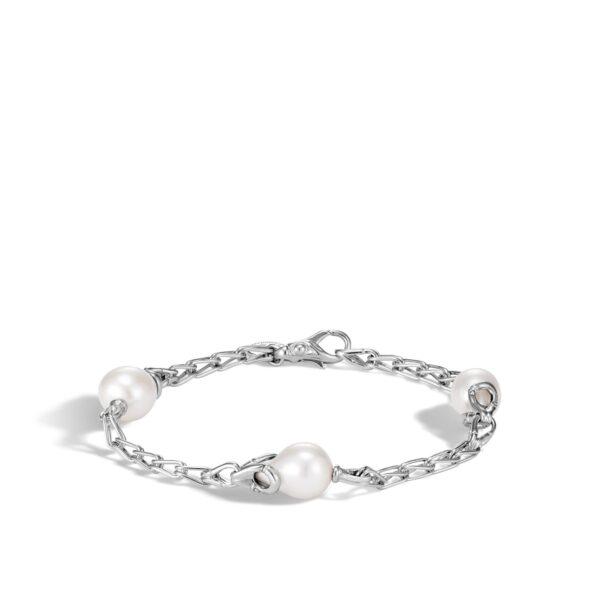 John Hardy Bamboo White Fresh Water Pearl & Sterling Silver Station Bracelet
