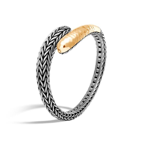John Hardy Classic Chain Hammered 18K Gold and Silver Bracelet
