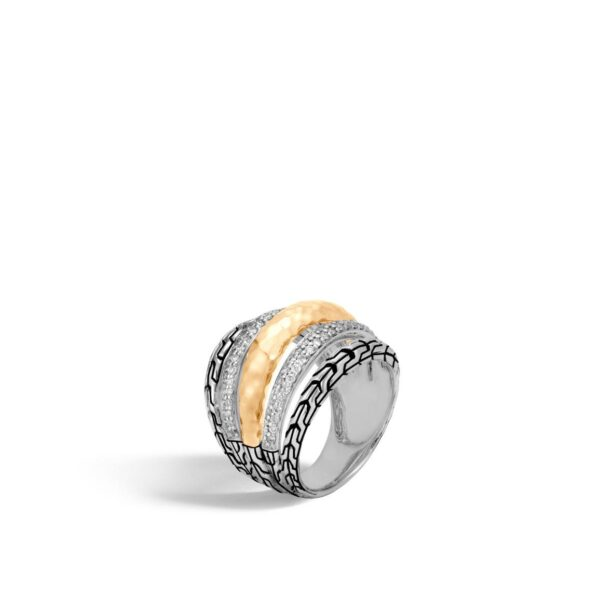 John Hardy Classic Chain Hammered Ring with Diamonds
