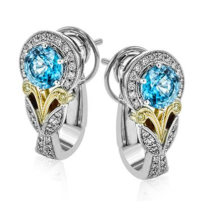 Simon G. Jewelry 18K Yellow & White Gold LE4545 Color Earrings