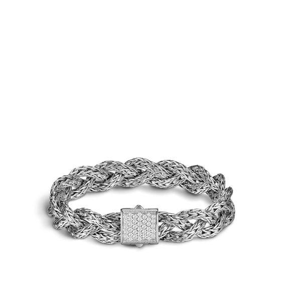 John Hardy Sterling Silver Braided Bracelet with Diamonds