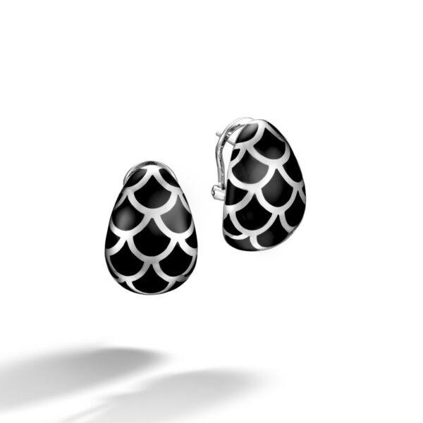 John Hardy Sterling Silver Naga Black Enamel Buddha Belly Earrings