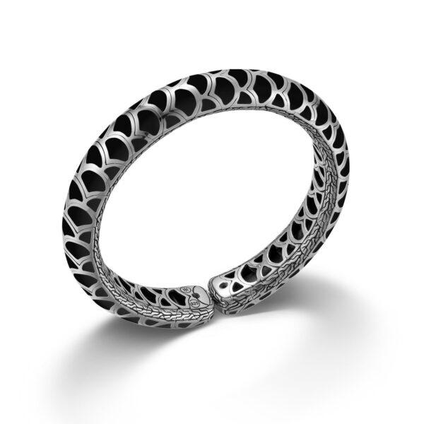 John Hardy Sterling Silver Naga Black Enamel Slim Flex Cuff Bracelet