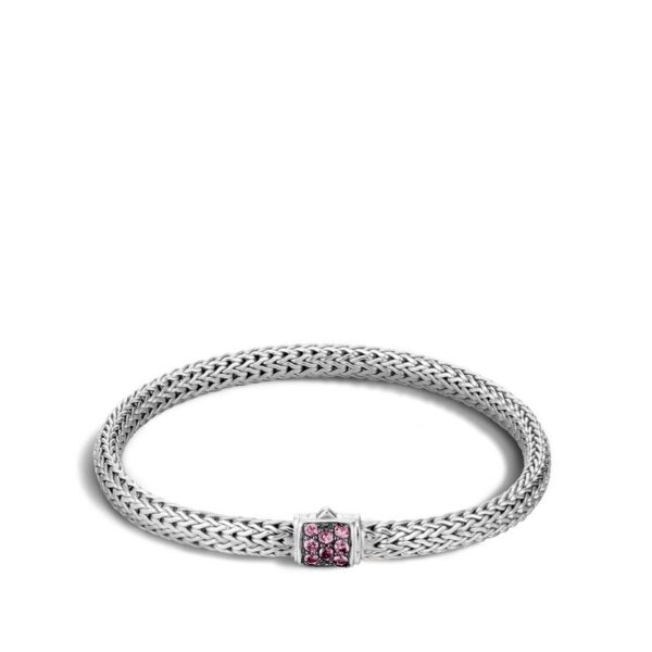 John Hardy Classic Chain Bracelet with Pink Spinel