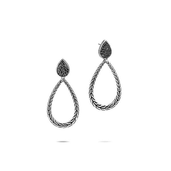 John Hardy Classic Chain Drop Earrings, Black Sapphire, Spinel