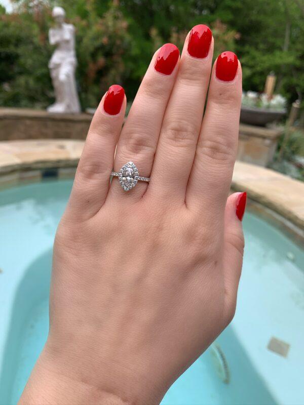 MK 14 Karat White Gold Engagement Ring - Marquise Cut