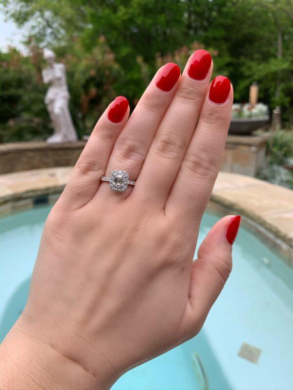 MK 14 Karat White Gold Engagement Ring - Emerald Cut