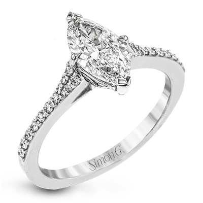 Simon G. Jewelry 18K White Gold LR2507-MQ Engagement Ring