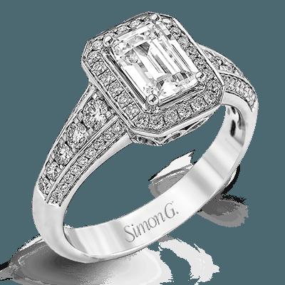 Simon G. Jewelry 18K White Gold MR2385 Engagement Ring