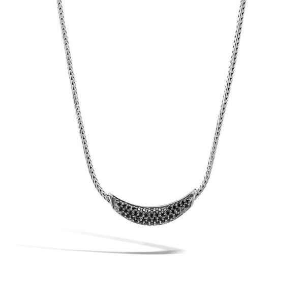 John Hardy Classic Chain Arch Necklace with Black Sapphire, Black Spinel