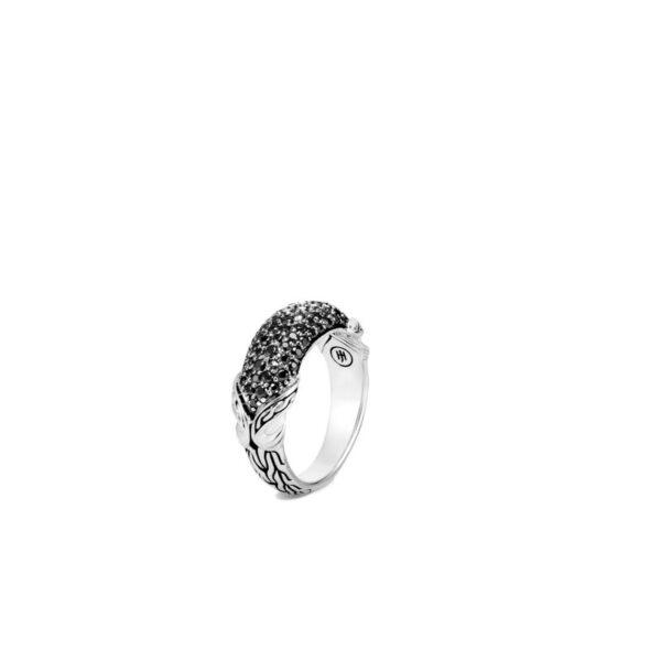 John Hardy Asli Link Dome Ring, Black Sapphire, Spinel