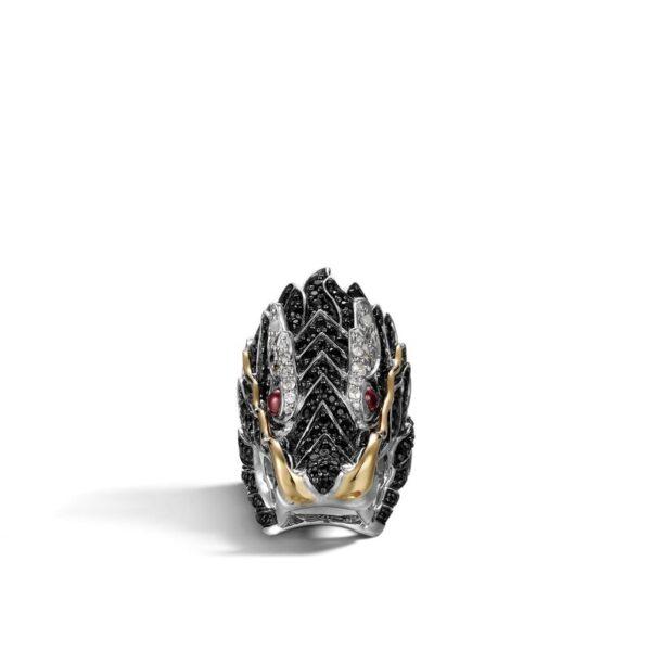 John Hardy Naga Head Ring, Black Sapphire and White Sapphire