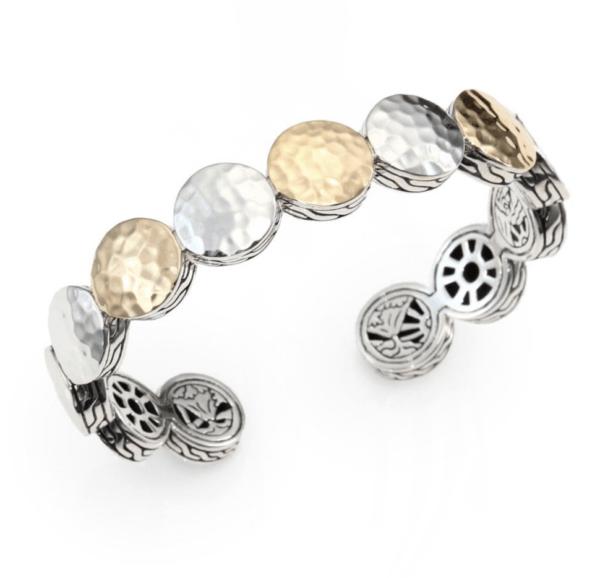 John Hardy Palu 18K Yellow Gold and Sterling Silver Dot Cuff Bracelet