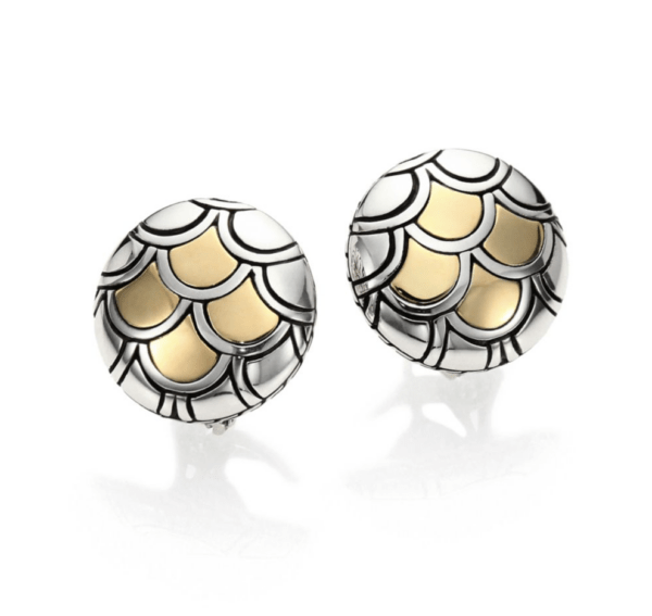 John Hardy Naga 18K Yellow Gold and Sterling Silver Button Earrings
