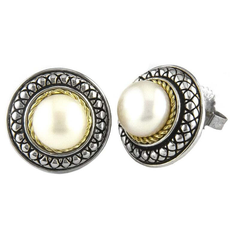 Andrea Candela 18K and Sterling Silver White Pearl Stud Earrings
