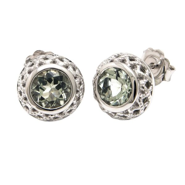 Andrea Candela Sterling Silver and Green Amethyst Earrings
