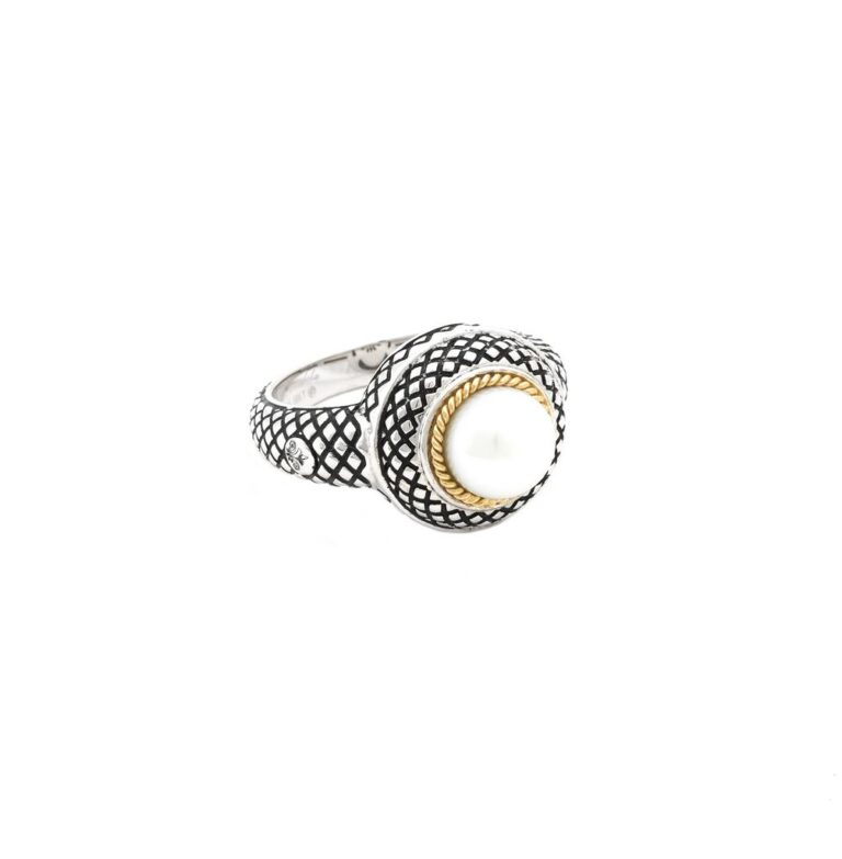 Andrea Candela 18K and Sterling Silver Pearl Ring