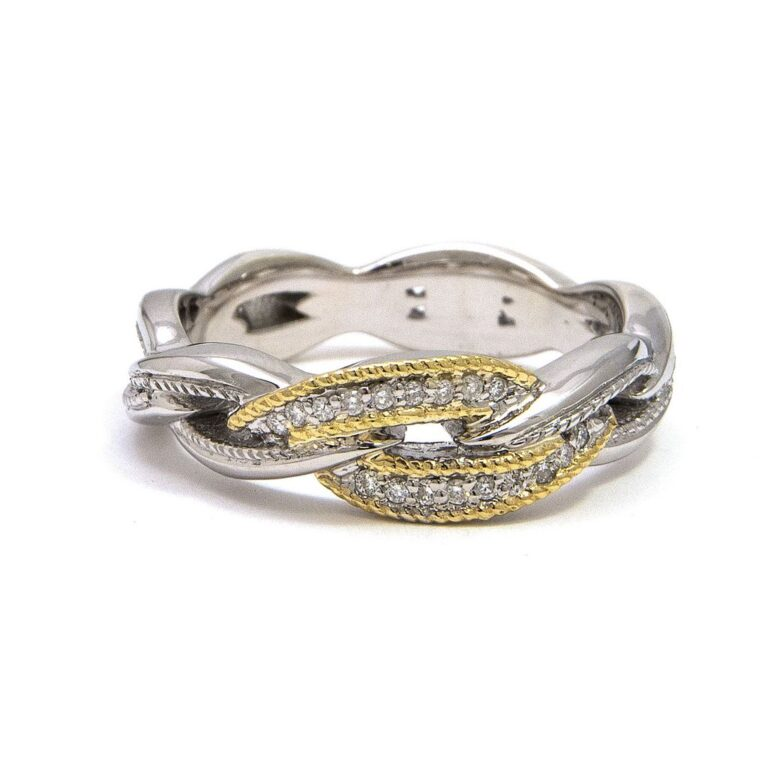 Andrea Candela 18K and Sterling Silver Diamond Ring