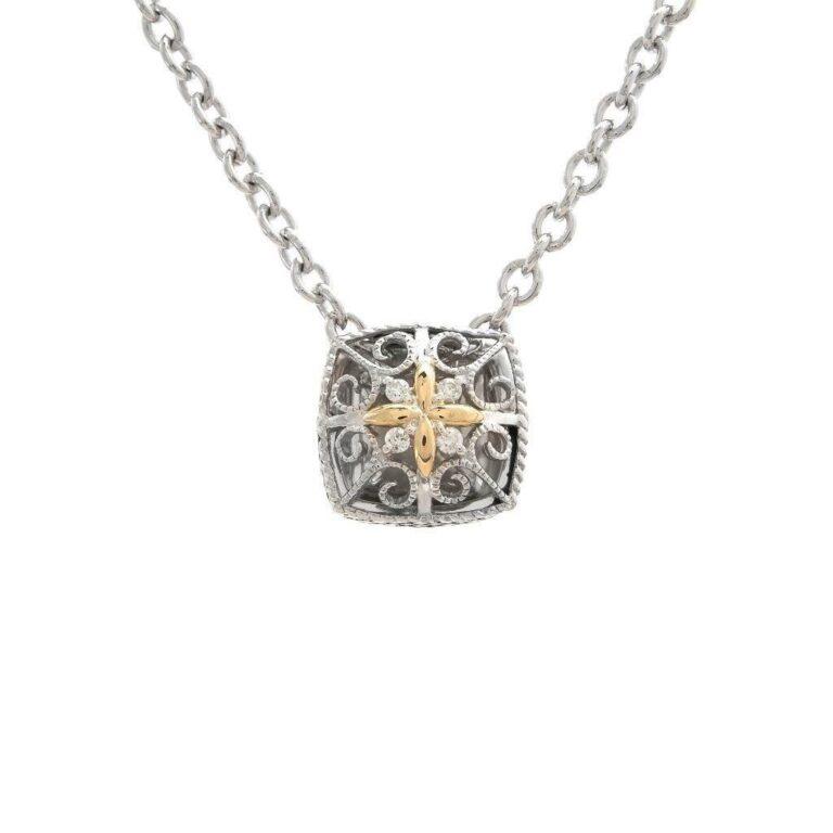 Andrea Candela 18K and Sterling Silver Diamond Vintage Necklace