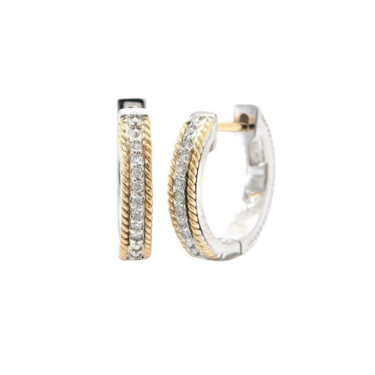 Andrea Candela 18K and Sterling Silver Diamond Hoop Cable Earrings