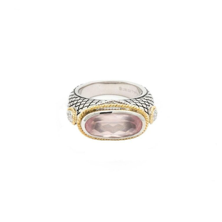 Andrea Candela 18K, Sterling Silver, and Rose Quartz Oval Ring
