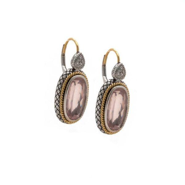 Andrea Candela 18K, Sterling Silver, and Rose Quartz Earrings