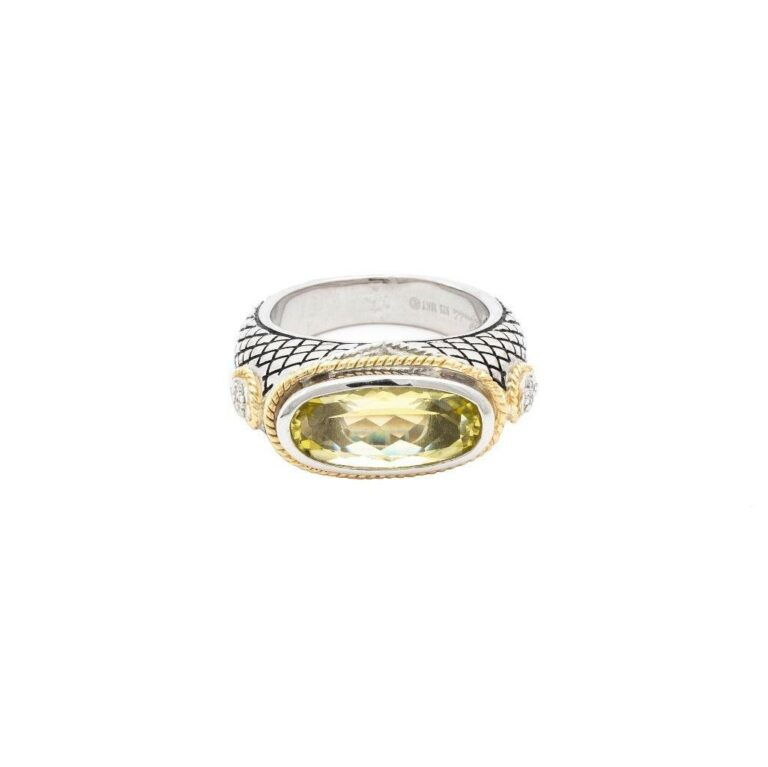 Andrea Candela 18K, Sterling Silver, and Lemon Quartz Oval Ring