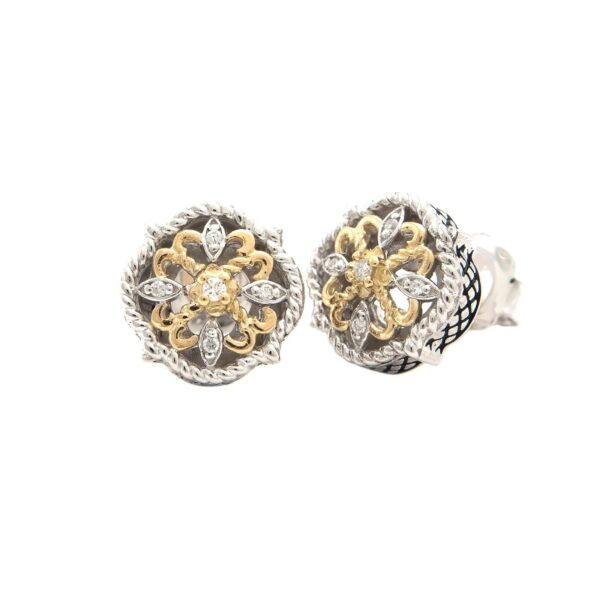 Andrea Candela 18K and Sterling Silver Diamond Vintage Earrings