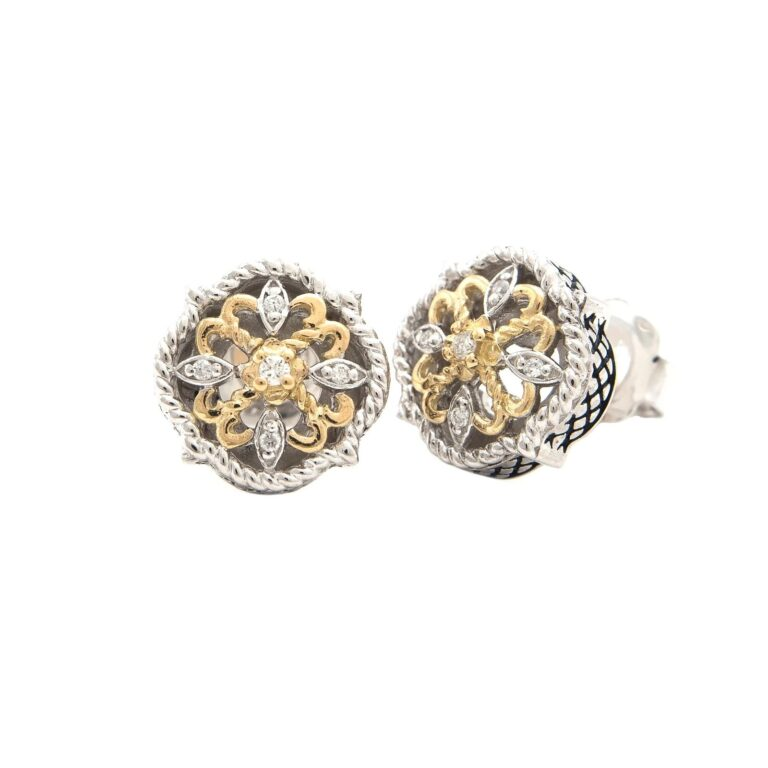 Andrea Candela 18K and Sterling Silver Diamond Vintage Earrings