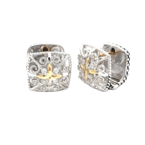 Andrea Candela 18K and Sterling Silver Diamond Vintage Hinged Earrings