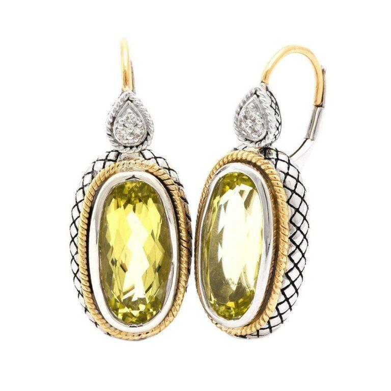 Andrea Candela 18K, Sterling Silver, and Lemon Quartz Earrings