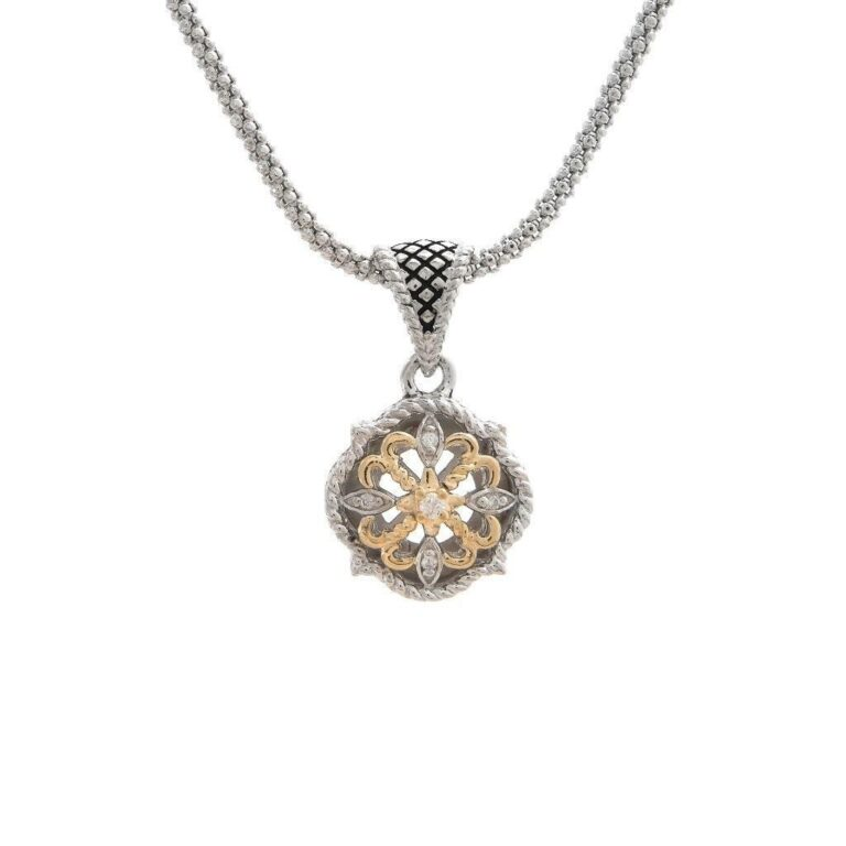 Andrea Candela 18K and Sterling Silver Diamond Vintage Necklace