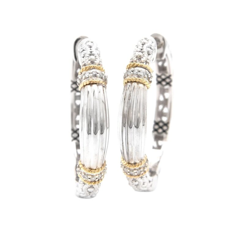 Andrea Candela 18K and Sterling Silver Diamond Hoop Earrings