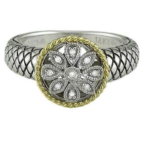 Andrea Candela 18K and Sterling Silver Diamond Flower Ring