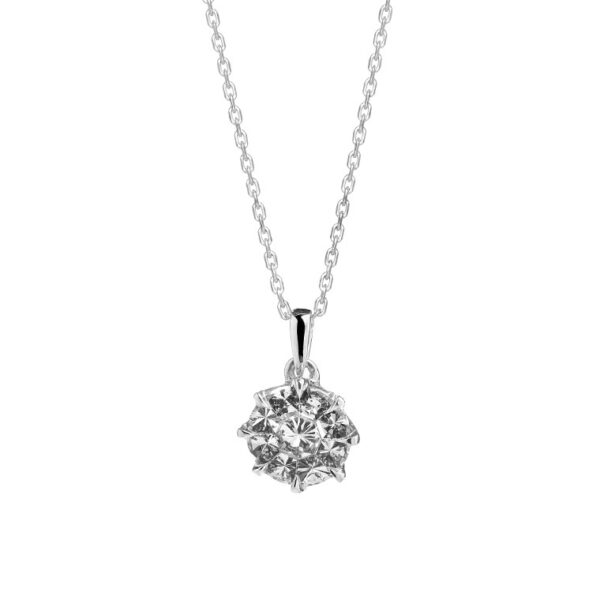 Facet Barcelona 14K White Gold Diamond Pendant