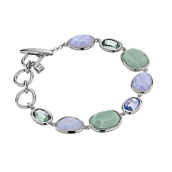 ELLE Multi-Stone Blue and Green Bezel Bracelet