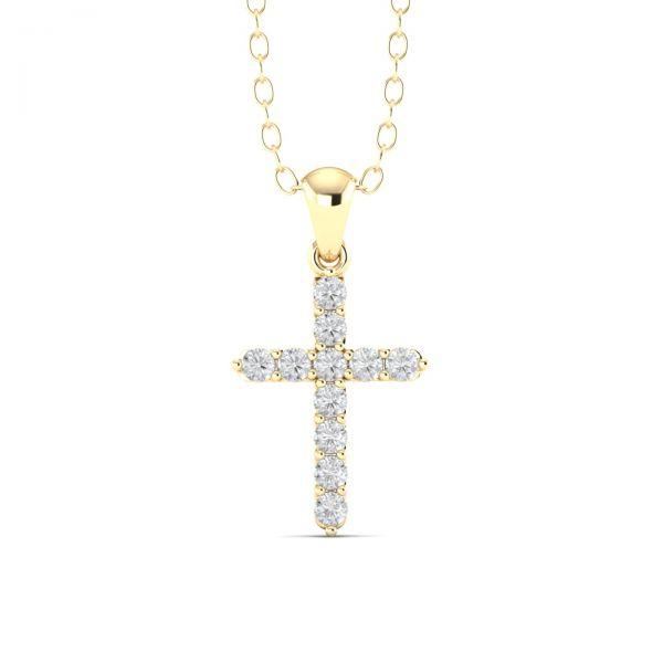 Costar Imports 14K Yellow Gold Diamond Cross Pendant Necklace