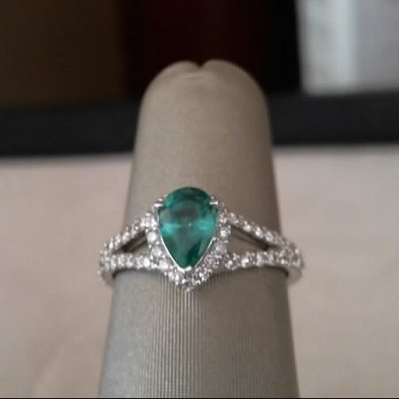 Fana 14K White Gold Emerald Diamond Fashion Ring