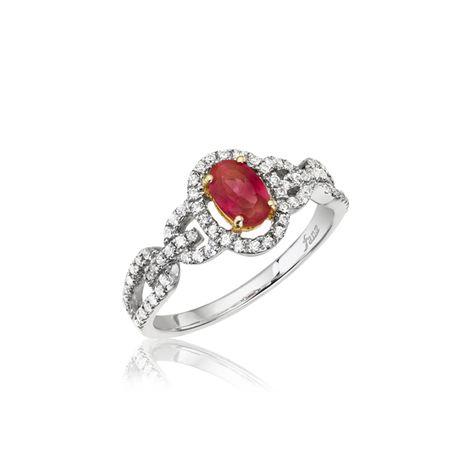 Fana 14K White Gold Ruby Diamond Fashion Ring