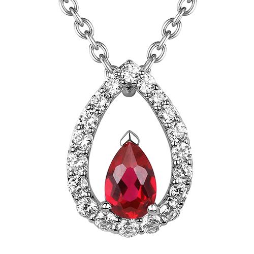 Fana 14K White Gold Ruby Diamond Pendant Necklace