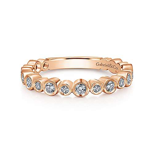 Gabriel & Co. 14K Rose Gold Alternating Bezel Set Stackable Diamond Band