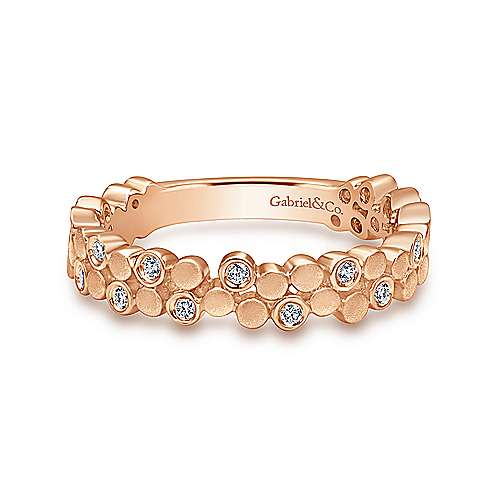 Gabriel & Co. 14K Rose Gold Cluster Bubble Ring Band with Diamond Stations
