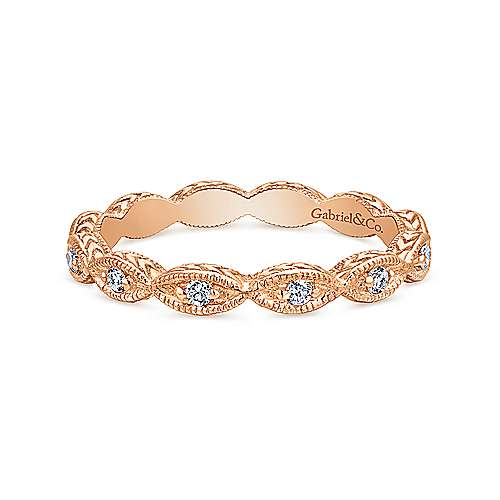 Gabriel & Co. 14K Rose Gold Diamond Marquise Station Ring