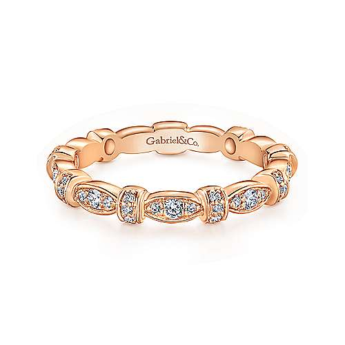Gabriel & Co. 14K Rose Gold Geometric Stackable Diamond Ring