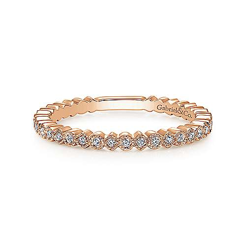 Gabriel & Co. 14K Rose Gold Scalloped Stackable Diamond Band