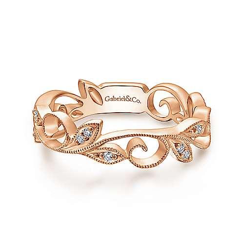 Gabriel & Co. 14K Rose Gold Scrolling Floral Diamond Ring