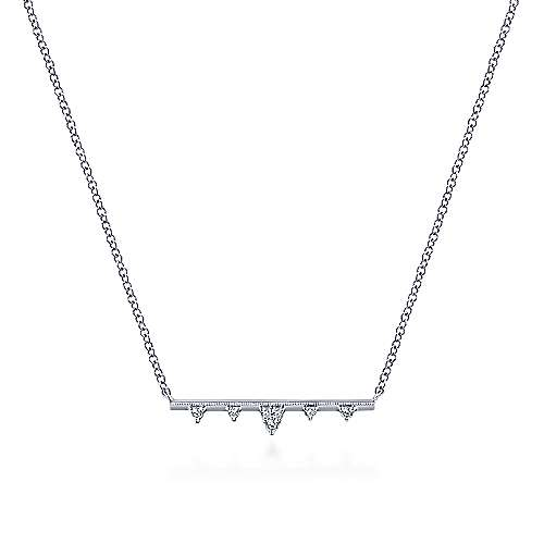 Gabriel & Co. 14K White Gold Bar Necklace with Diamond Triangle Stations