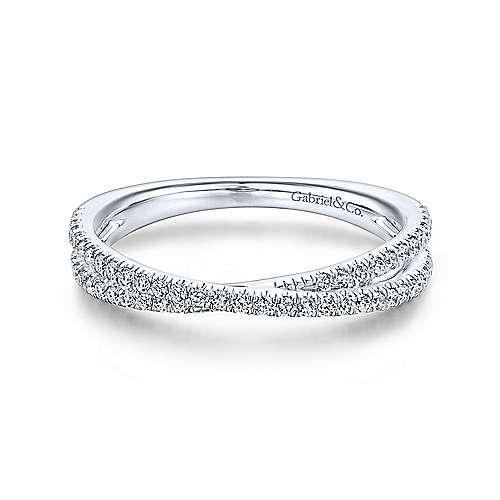 Gabriel & Co. 14K White Gold Criss Cross Diamond Stackable Ring