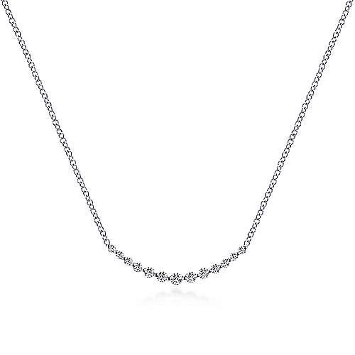 Gabriel & Co. 14K White Gold Diamond Curved Bar Necklace