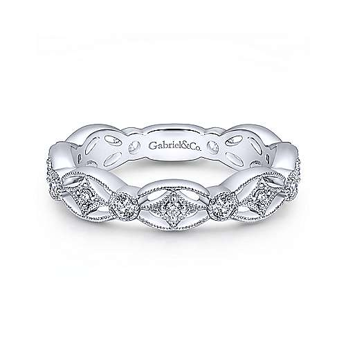 Gabriel & Co. 14K White Gold Intricate Cutout Stackable Diamond Ring